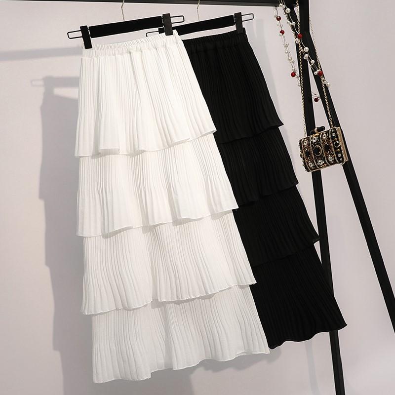 Super fairy white layered skirt half skirt womens Korean version 2019 new student Chiffon Cake spring and summer pleated mid long skirt