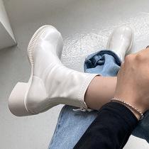 V9M1DDZ0冬新商场同款烟筒靴短靴加绒2020百丽厚底切尔西靴女