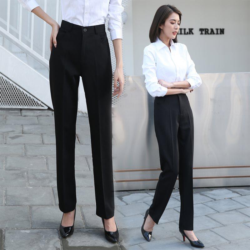 垂感黑色上班工作高腰显瘦职业直筒正装小个子西装裤女秋冬长裤