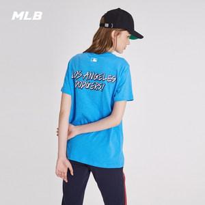 MLB官方 男女T恤爆米花系列短袖基础印花运动休闲圆领-31TSSC