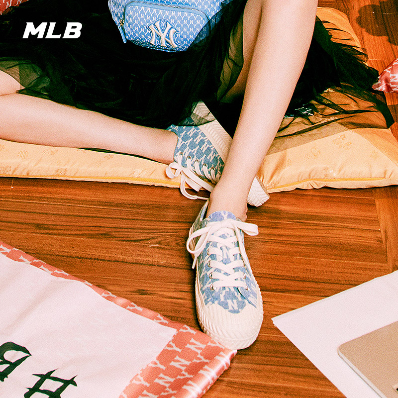 MLB Official Men's and Women's Canvas Shoes Hyuna Same Retro Presbyopia Thick-soled Washed Denim Casual Shoes Low-cut SHPM