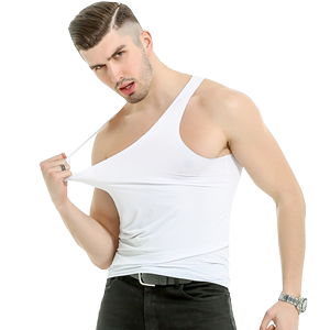 纯纹男士冰丝无痕夏季透气白汗衫