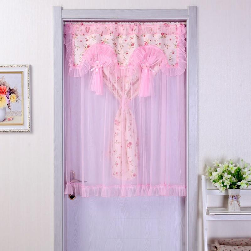 包邮双层/美容院店装饰蕾丝布门帘卧室半帘厨房半截短隔断小挂帘