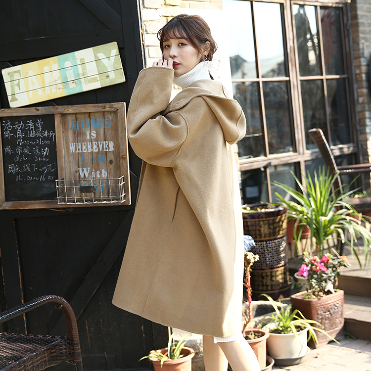 Cloak double-sided cashmere coat womens medium length 2021 autumn and winter new Korean loose and thin hooded tweed coat