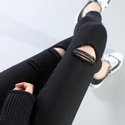 牛仔裤女士破洞黑色高腰2020春秋季新款显瘦铅笔紧身小脚九分长裤