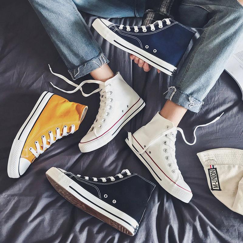 タオバオ仕入れ代行-ibuy99 男士鞋子 帆布鞋男高帮鞋子男潮鞋韩版潮流休闲板鞋2021年新款夏季百搭布鞋