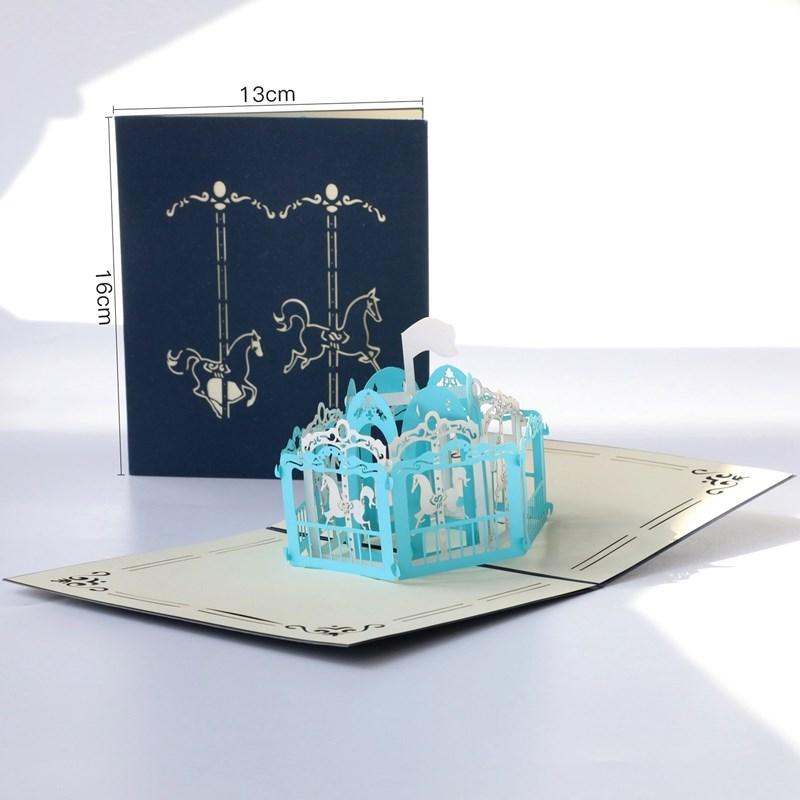 留言贺卡立体摩天轮纸雕生日毕业小卡片韩国创意情侣礼物定制