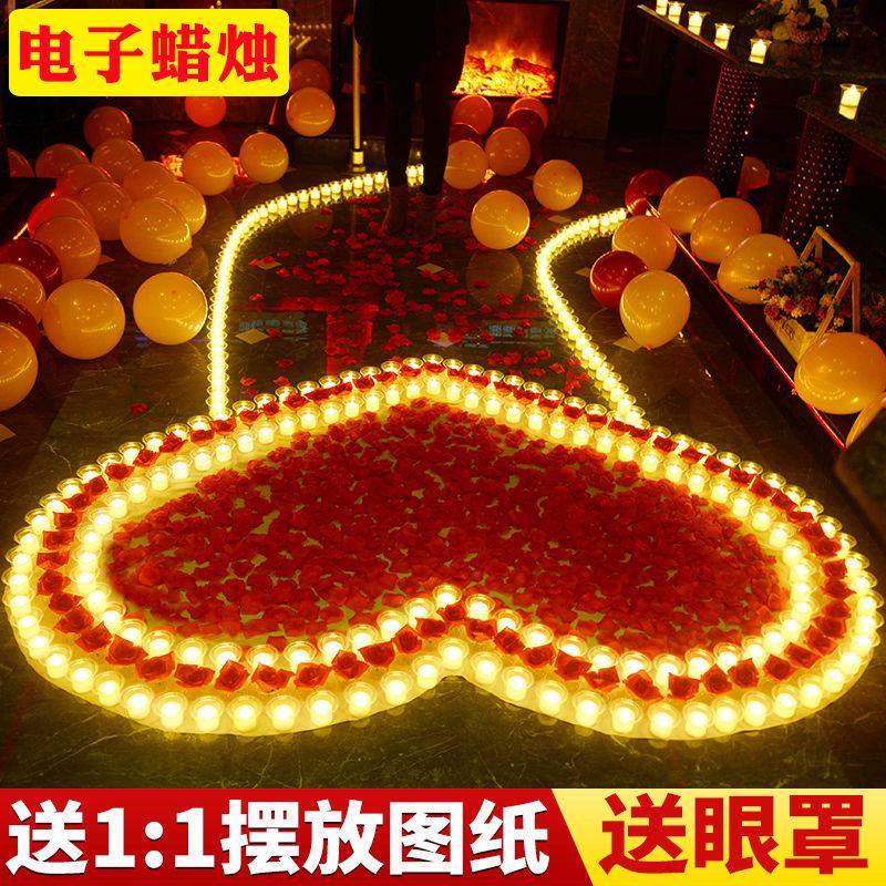 电子蜡烛浪漫创意玫瑰爱心形表白求爱求婚道具LED灯生日七夕布置