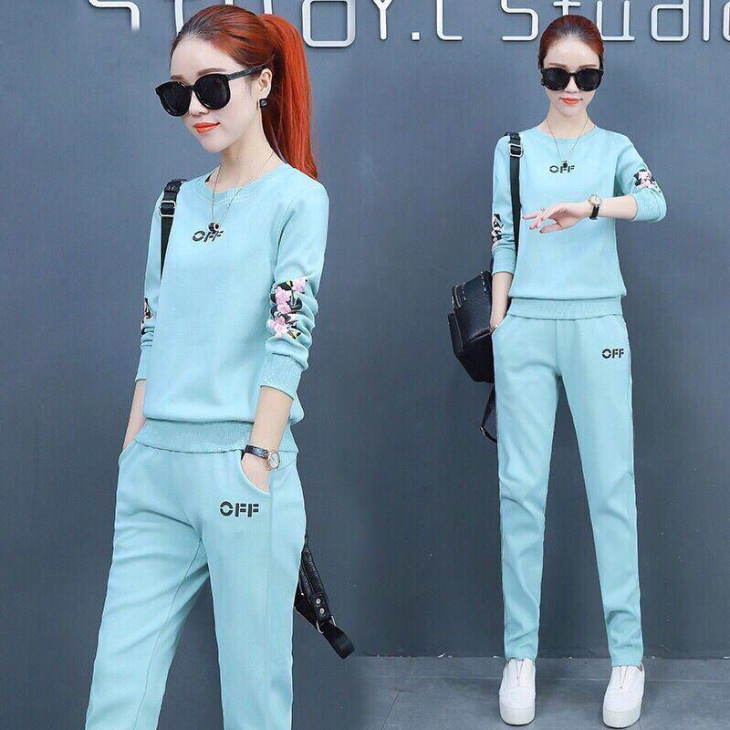 春秋款时尚韩版家居服休闲账动套装女加大码宽松修身长袖两件套