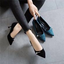 Net red 2019 new girls' high-heeled shoes, thin heels, all kinds of rhinestones, pointed middle heels, girls' Fairy work single shoes