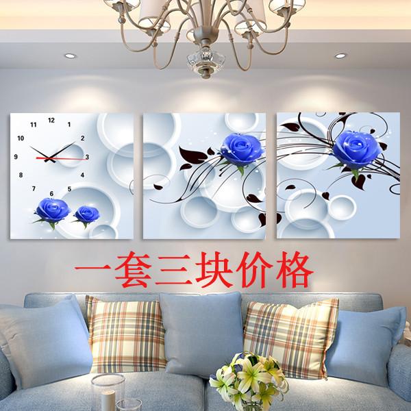 美式墙钟电子钟钟表无框画组合背景墙卧室长方形欧式家居墙上时尚