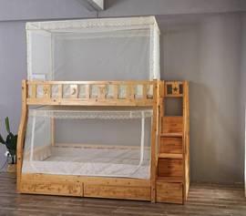 上下铺儿童子母床拉链方顶梯形矩形蚊帐全不锈钢支架带风扇杆图片