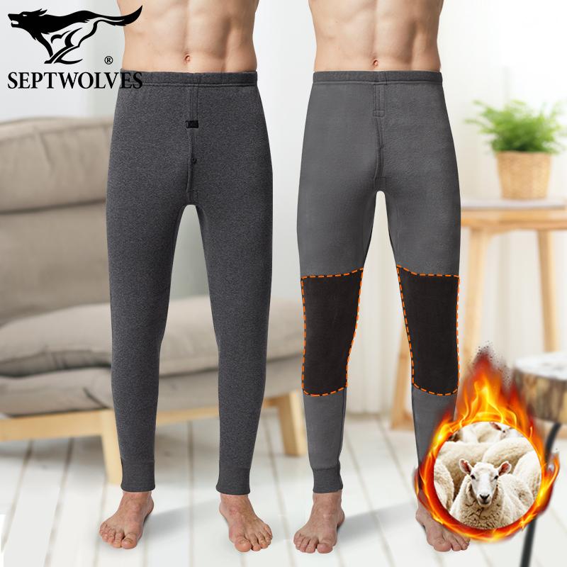 正品男士羊毛护膝盖保暖棉裤子加绒加厚款秋冬季春秋裤中老年人