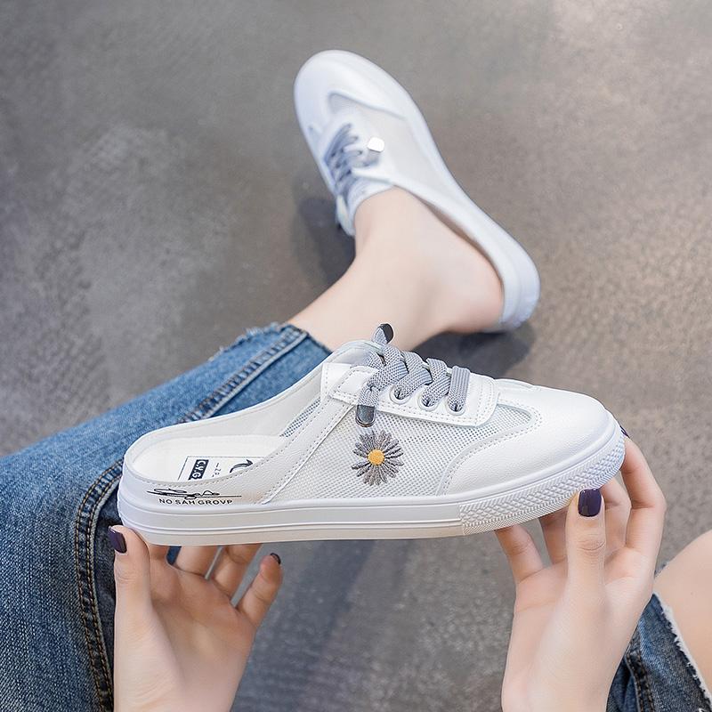 夏季小雏菊女学生一脚蹬轻便半托外穿凉鞋网面透气不系带休闲板鞋