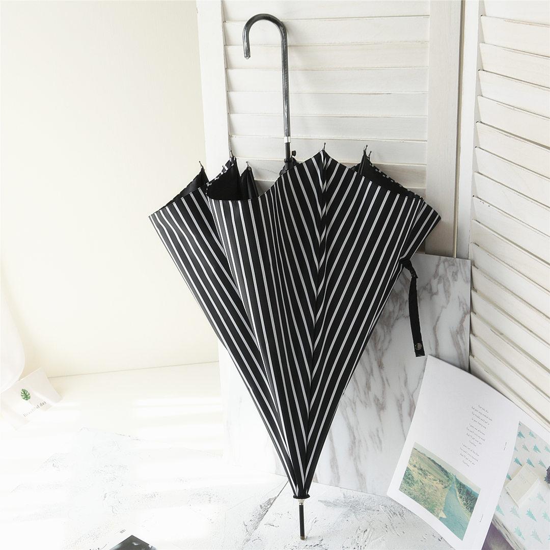 弯柄长柄伞遮阳伞女胶伞三折叠晴雨伞条纹洋伞 不透光加厚