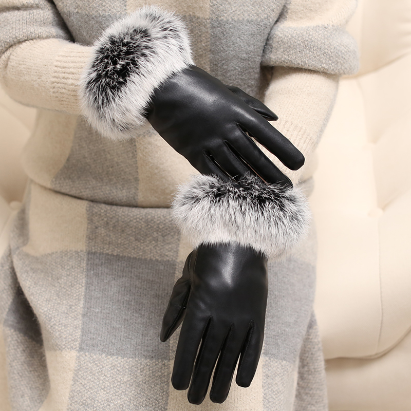 Real rabbit fur gloves for women to ride in winter