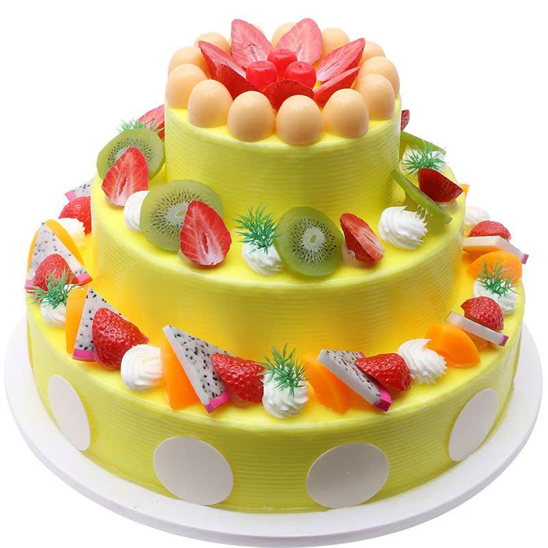 婚礼蛋糕多层新款蛋糕摆设摄影道具装饰水果欧式模型假蛋糕