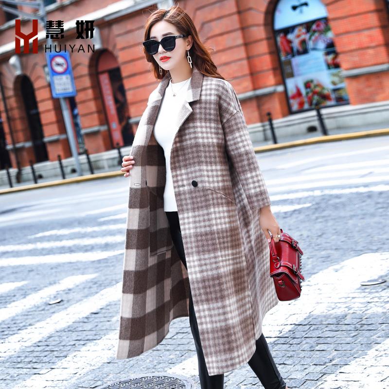 反季毛呢外套女新款中长款双面宽松呢子大衣女韩版格子羊毛外套女