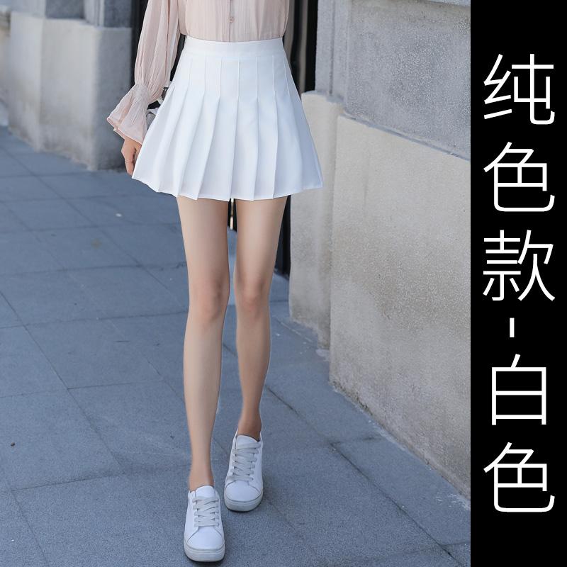 百褶裙女高腰a字短裙学院风学生2019夏季新款韩版百搭格子半身