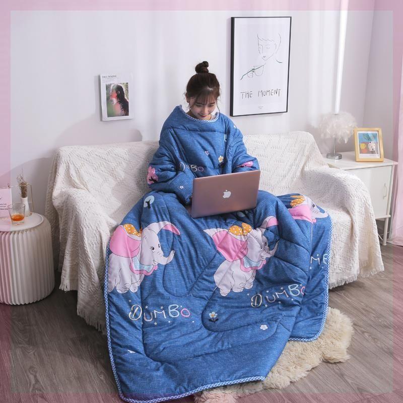 盖被秋冬季懒人被子可爱蓝色带袖粉色小毛毯沙发学校特厚新款黄色