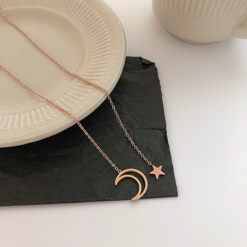 New titanium steel star moon splash Star River Necklace Taigang womens Necklace Pendant womens fashionable and lovely jewelry neck