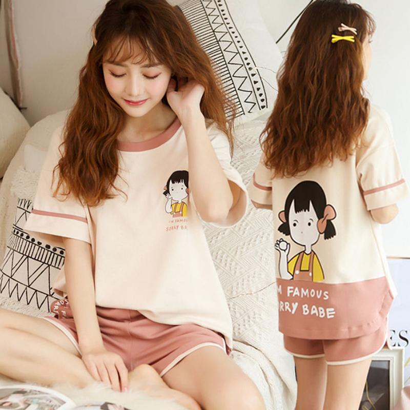 薄款睡衣女夏棉质短袖短裤韩版甜美可爱家居服两件套装