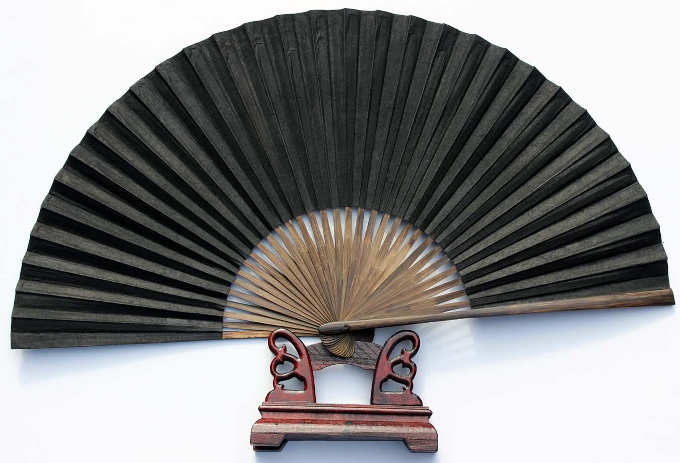 戏曲曲艺用黑扇子绍兴传统扇子 全扇工艺毛全本黑纸折扇