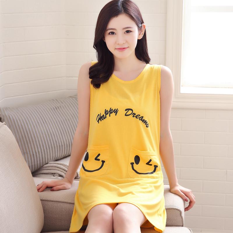 夏天连体裙显瘦格子短款睡裙小个子女式纯棉质无袖背心睡衣S小码