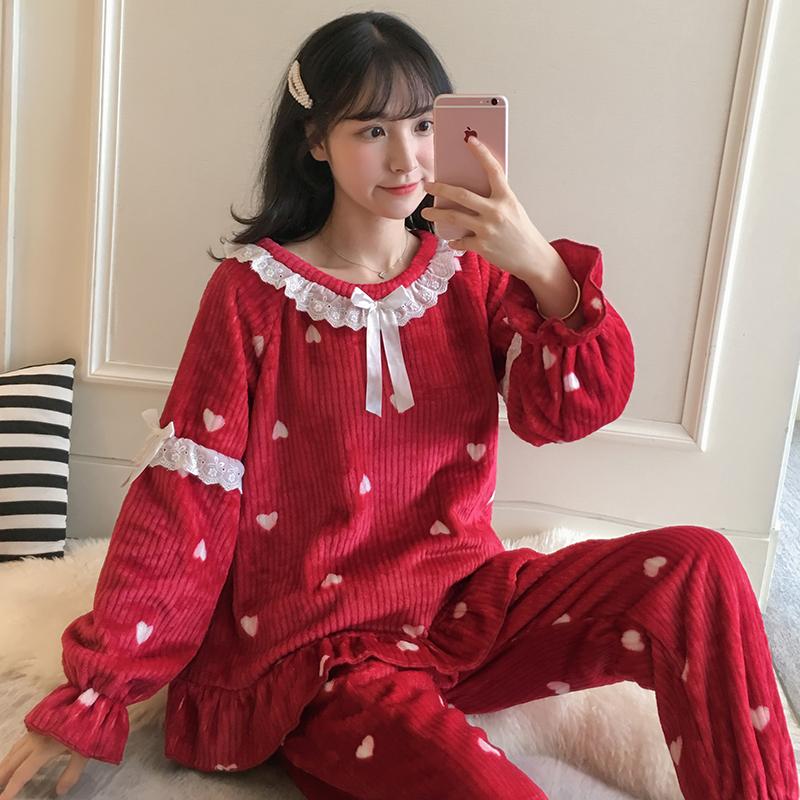 珊瑚绒睡衣女冬韩版学生可爱法兰绒加厚冬天家居服秋冬季套装小鹿