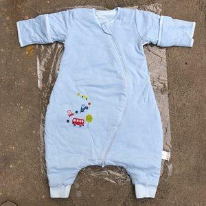 米l鱼 七分袖带袖夹棉加棉中厚加厚睡袋婴儿童分腿宝宝加大防踢被