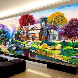 钻石画2020年新款5D满钻客厅田园小屋欧式卧室风景点贴石砖钻石绣
