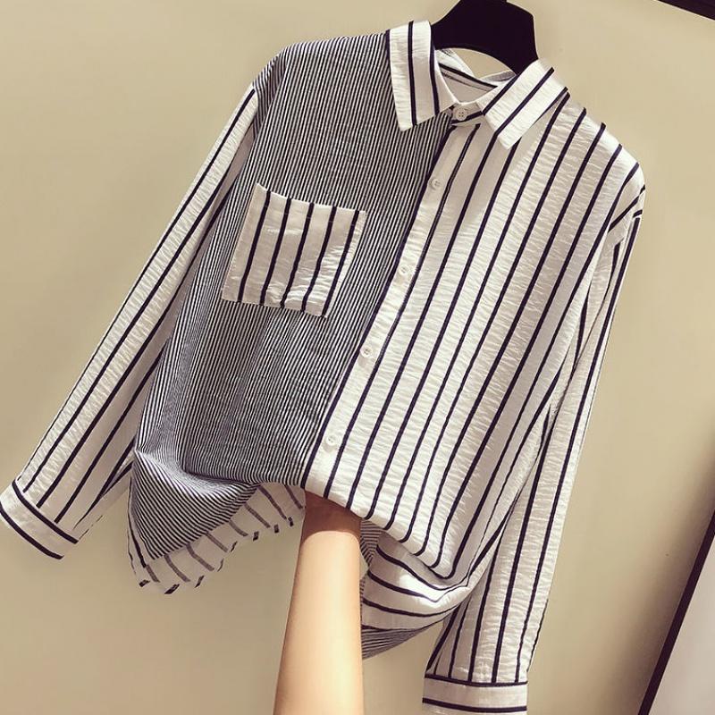 2020秋装新款上衣女百搭气质显瘦慵懒风小清新时尚条纹拼接衬衫女