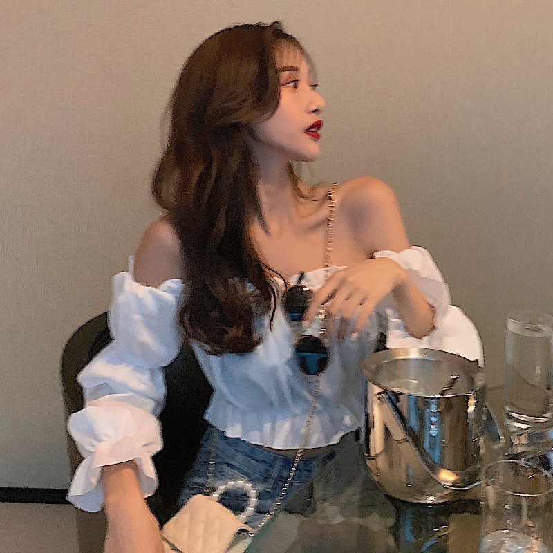 Shirt womens new sexy off shoulder one line collar top with wooden ear edge in spring and summer of 2020