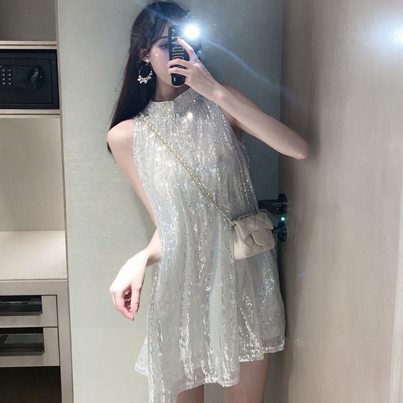 Fashionable glittering Sequin temperament dress womens summer new loose and slim stand collar sleeveless vest skirt short skirt fashion