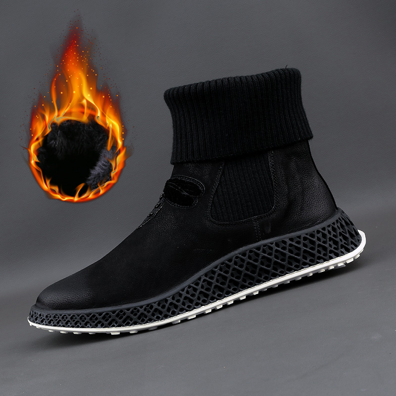 Mens boots, leather, fly weave, denim boots, British Plush warm Martin boots, Korean cotton boots, wool boots, fashion boots