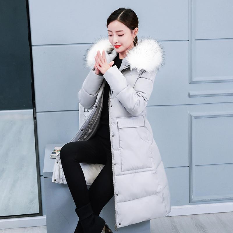 棉衣女2019新款冬季韩版修身羽绒棉服中长款棉袄加厚大毛领外套