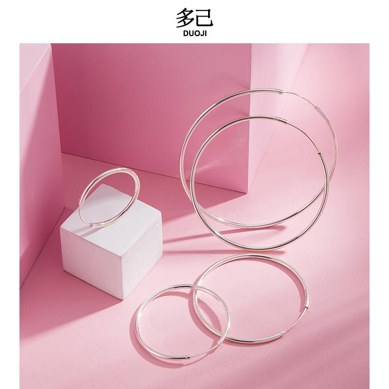 925 Sterling Silver Large Circle Earrings womens new fashion earrings 2021 Korean temperament circle small circle 2020