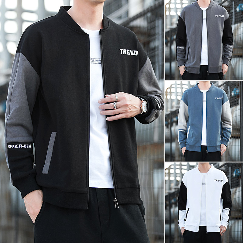 Sweater mens trend loose and versatile autumn top spring cardigan baseball collar jacket trendy Korean casual coat