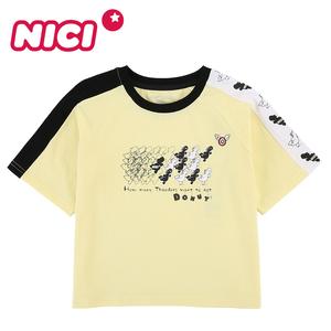 NICI 童装 2020夏季新款女童中大童时尚短袖针织T恤BYJSK25505