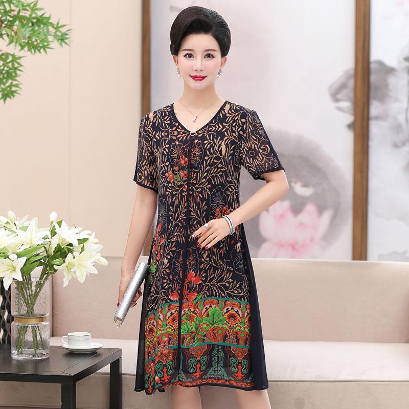中老年女装夏装四十岁女人连衣裙29.90元包邮