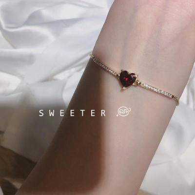 甜蜜~韩国东大门1990同款爱心皓石手链抽拉可调节手链显白气质