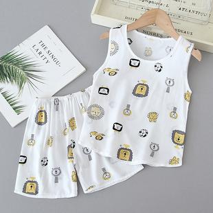 儿童睡衣夏季薄款棉绸夏天背心套装男童夏装绵绸宝宝人造棉家居服品牌