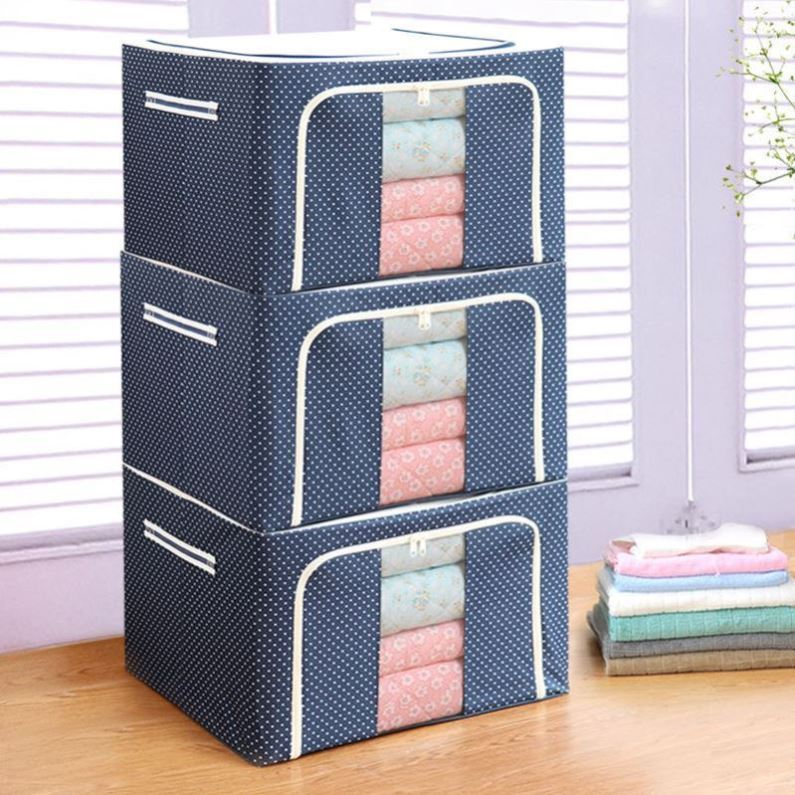 Storage box Oxford cloth foldable wardrobe dormitory fabric sorting case covered luggage large capacity bedroom books
