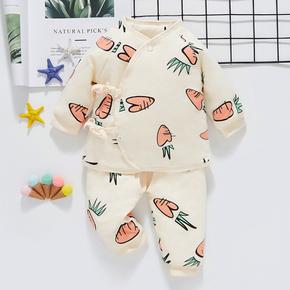 新生儿套装春秋婴儿衣服初生儿系带棉服秋冬保暖宝宝薄款棉袄外套