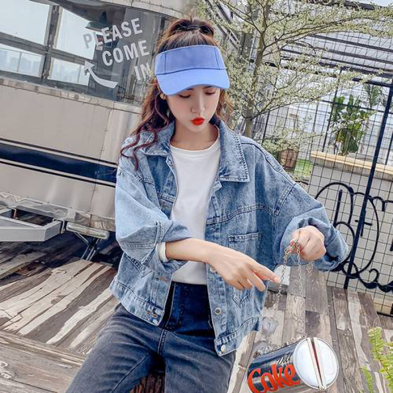 。 Denim Jacket Womens spring and autumn new loose jacket Korean Sequin letter jacket work clothes embroidery f