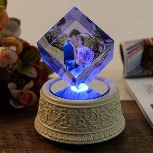 水晶照片相片制作生日礼物创意礼品送朋友闺蜜摆台旋转魔方定制