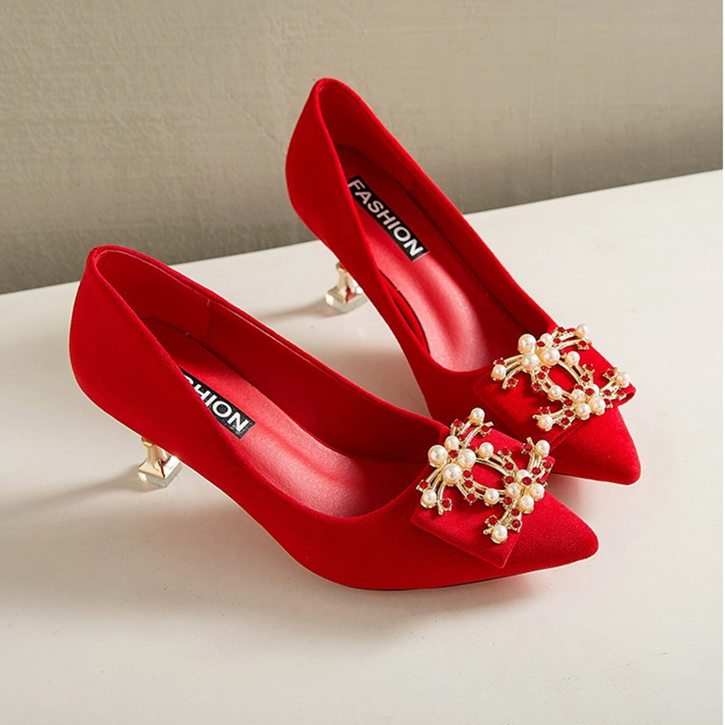 Wedding shoes women's red high heels thin heels 2020 new sexy bed bow bridal Rhinestone single shoes Xiuhe shoes