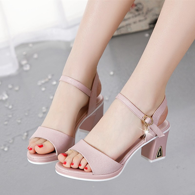 Sandals for women 2020 new all-around students summer middle heel fish mouth shoes childrens thick heel fashion shoes for women