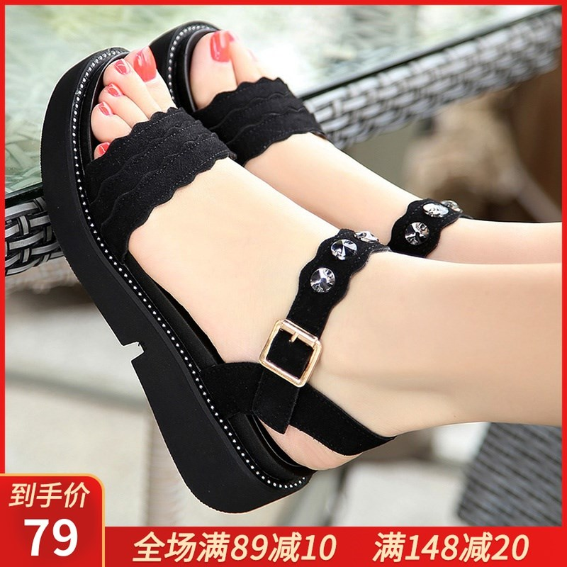 2020 summer new flat heels sandals casual women sandals thick bottomed non slip slope heels flat bottomed student large women sandals