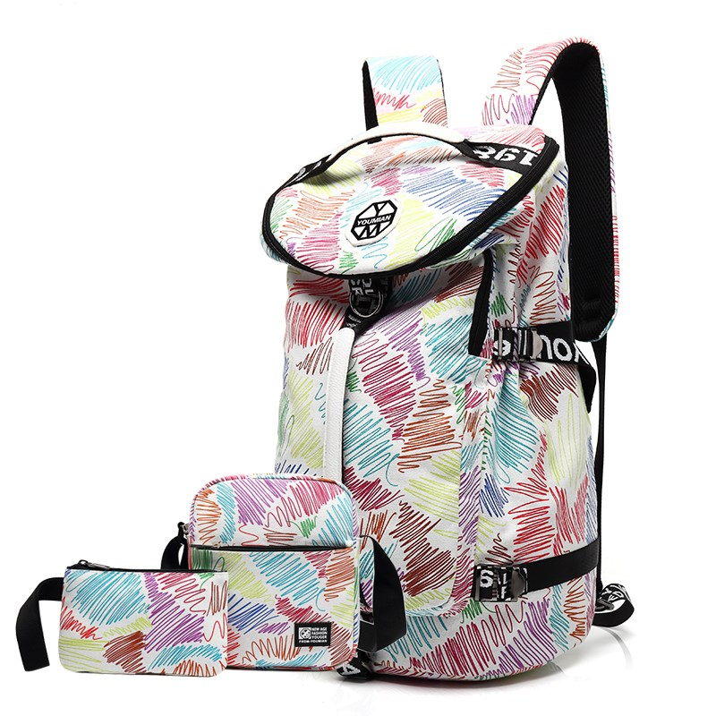 High capacity backpack female backpack sports junior high school students schoolbag canvas mountaineering bag portable travel bag male